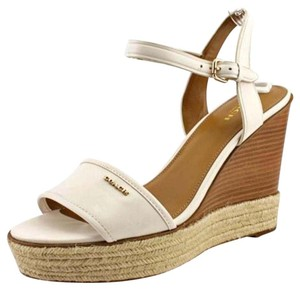 Coach Espadrille Sandals Open Toe Chalk Wedges