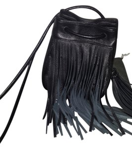 Vince Camuto Drawstring Fringe Leather Edgy Cross Body Bag