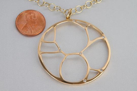 Zales Contemporary Circle Diamond Accent Necklace in Yellow Gold 14K Image 3