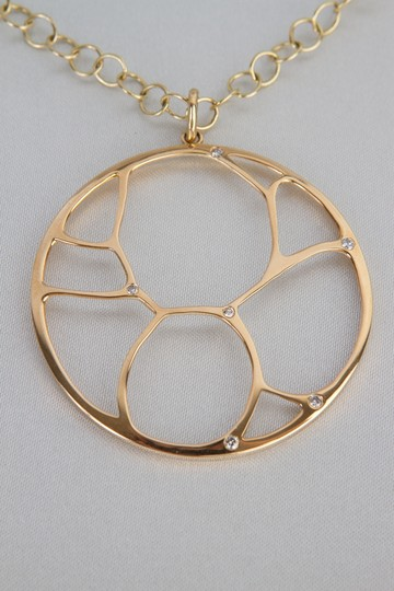 Zales Contemporary Circle Diamond Accent Necklace in Yellow Gold 14K