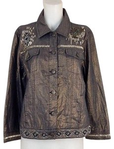 Chico's Womens Chicos Metallic Black Womens Jean Jacket