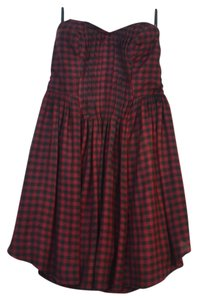 Kimchi Blue short dress Black and Brick Red Flannel Strapless Cotton on Tradesy