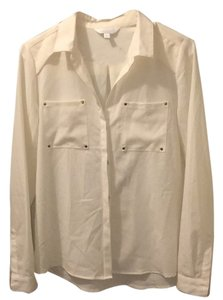 Charming Charlie Button Down Shirt Cream