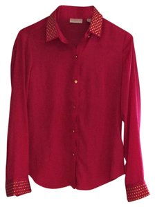 New York & Company Pink Studded Longsleeve Button Down Shirt