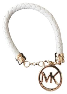 Michael Kors NEW Michael Kors MK Logo WHITE Leather Adjustable Bracelet In Pouch