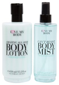 Victoria's Secret Love My Body GRAPEFRUIT & BASIL Fragrance Body Mist/Lotion Set *RARE*