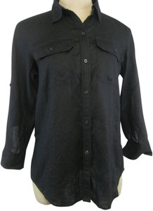 Chaps Linen Shirt Top Black