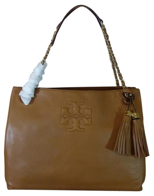 Item - Thea Bark Chain Shoulder Slouchy Brown Pebbled Leather Tote