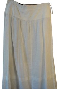 Max Mara Wrap Around Linen Maxi Skirt White