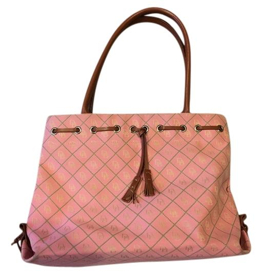 Preload https://img-static.tradesy.com/item/14599051/dooney-and-bourke-tote-pink-green-with-brown-leather-handles-trim-cloth-shoulder-bag-0-2-540-540.jpg