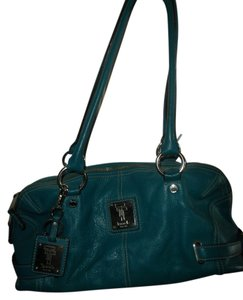 Tignanello Pebbled Leather Satchel in Blue