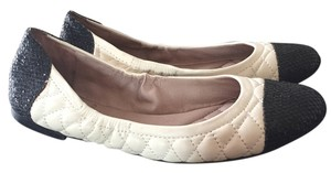 Vince Camuto Leather Sparkle Quilted White and Black Flats