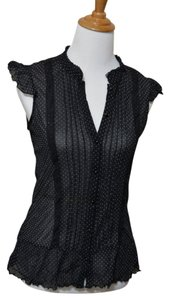 Limited Too Sleeveless Sheer Button Down Top Polka-dot