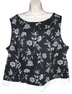 Pendleton Cotton Textured Tank Floral Top Black White