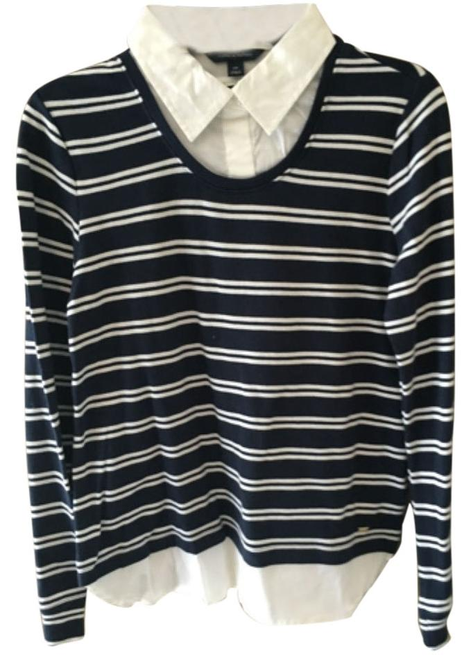 872910b8 Tommy Hilfiger Navy Striped Sweater Button-down Top Size 4 (S) - Tradesy