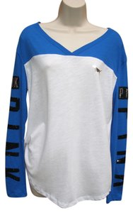 Victoria's Secret Bling Varsity Pullover Sequin T Shirt Blue White