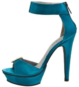Michael Antonio Turquoise Satin Pumps