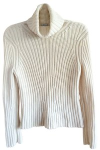Willi Smith Turtleneck White Knit 100% Merino Wool Sweater