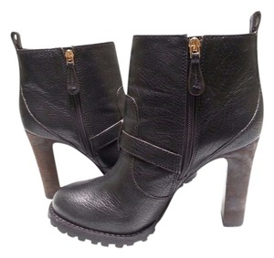 Tory Burch Distressed Leather Ankle Black Boots