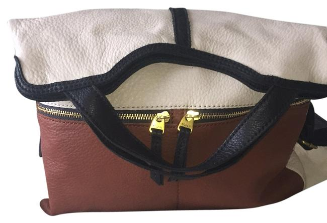 Item - Brown Navy Cream Leather Hobo Bag