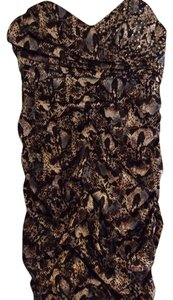 City Triangles Strapless Night Out Studded Snakeskin Dress