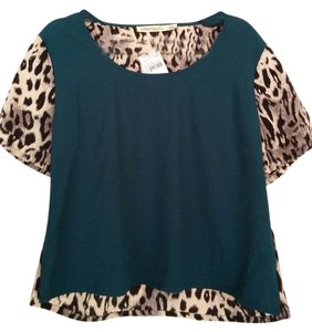 Liberty Love Leopard Flowy Top Turquoise