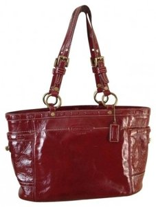 Coach Fabric Inside Tote in Red patent leather
