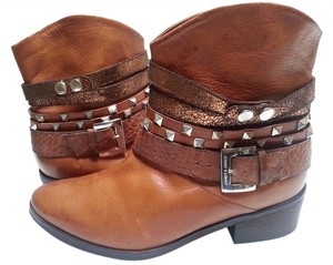 Janet & Janet Multi Stud Strap Ankle Leather Brown Boots