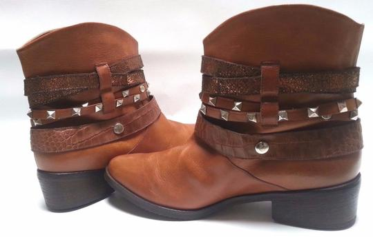 Janet & Janet Multi Stud Strap Ankle Leather Brown Boots Image 1