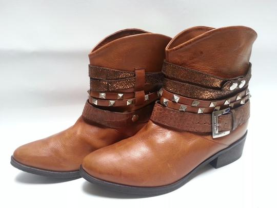 Janet & Janet Multi Stud Strap Ankle Leather Brown Boots Image 2