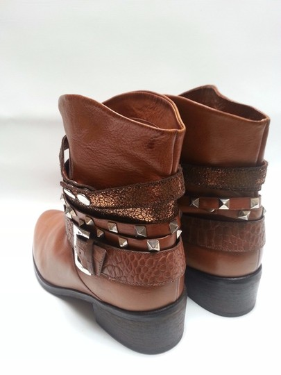 Janet & Janet Multi Stud Strap Ankle Leather Brown Boots Image 3