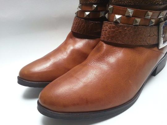 Janet & Janet Multi Stud Strap Ankle Leather Brown Boots Image 4