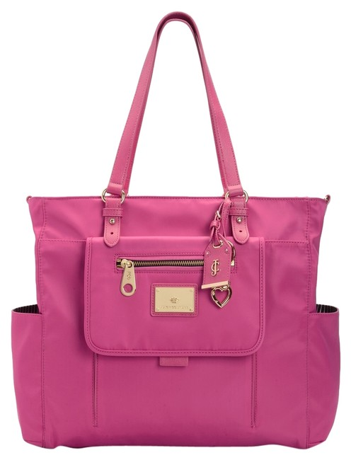 Item - Malibu Complete Raspberry Pink Nylon with Leather Trim Diaper Bag