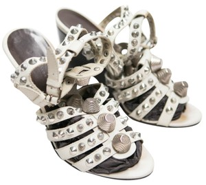 Balenciaga Studded Sandals Gladiator Haute Couture Leather Wood Heels white Wedges