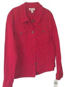 Style & Co Red Womens Jean Jacket