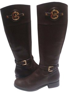 MICHAEL Michael Kors Leather Knee High Dark Chocolate Boots