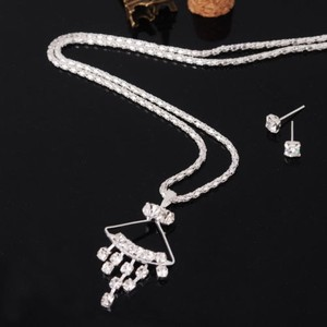 Bogo Free Silver Rhinestone Wedding Prom Jewelry Set Free Shipping