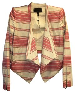 BCBGMAXAZRIA Red and Ivory Blazer