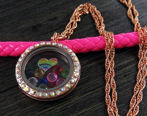 Copper Rhinestone Memory Locket Necklace Free Shipping