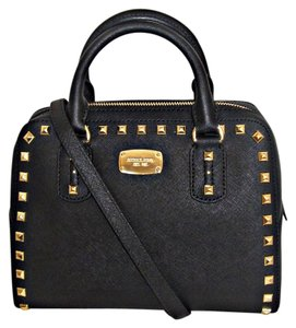 Michael Kors Studded Stud Saffiano Satchel in Black