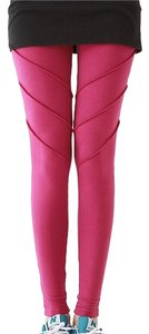 other purple yoga leggings with triple seam detail on the thigh for a ribbed look