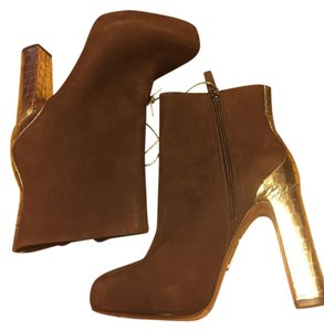 Boutique 9 Suede Platform Brown and Gold Boots