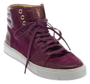 Saint Laurent Yves Sneakers High Tops Malibu Suede Purple Athletic
