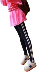 other double line striped exercise leggings in navy blue