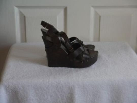 BCBGeneration Brown Leather and Wood Wedges