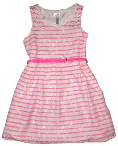 Justice short dress White with Neon Pink Stripes Lace Overlay on Tradesy