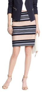 Ann Taylor Horizon Stripe Skirt Multi-Color Dark Sky
