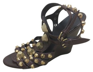 Balenciaga Ankle Strap Studded Lambskin Brown Wedges