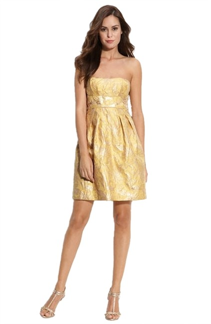 Preload https://item1.tradesy.com/images/bcbgmaxazria-bamboo-metallic-gold-yellow-jacquard-floral-above-knee-cocktail-dress-size-4-s-1460715-0-0.jpg?width=400&height=650