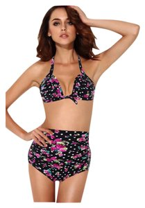 c42563c94553 Other New Black Sexy Plus Size 2 PC Floral High Waisted Retro Bikini  Bathing Suit Tag